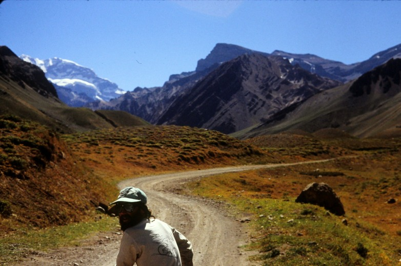 Terry Powers at the beginning of the trail to Aconcagua